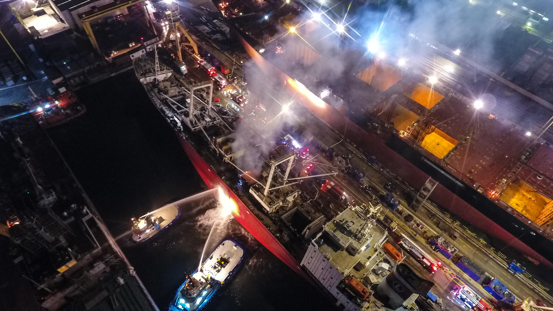 Tuzlada gemi yangını - Haberler - İstanbul İtfaiyesi