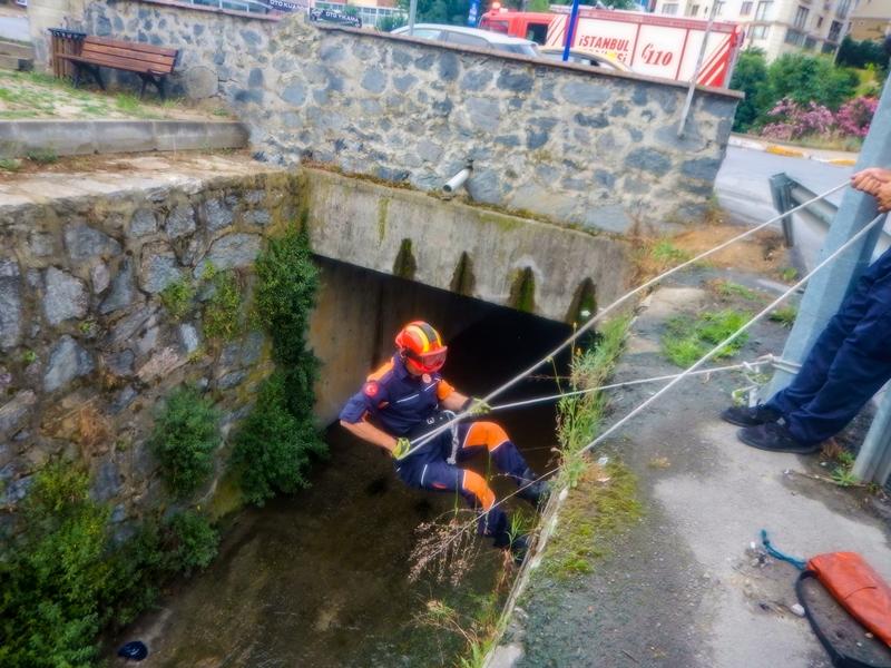 Su kanalına düşen dostumuzu kurtardık - Haberler - İstanbul İtfaiyesi